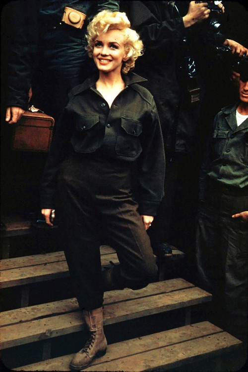 Marilyn Monroe visits the troops in Korea, 1954