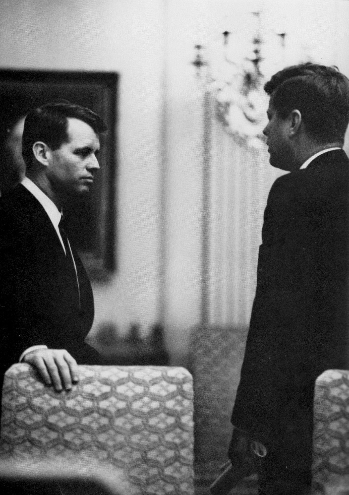 JFK and Bobby conferring in the East Room.