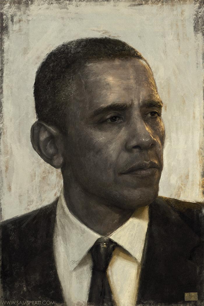 "classic-ian :      samspratt :      ""Golden Age"" - Portrait of Barack Obama by  Sam Spratt     > secret <   (  Prints Available Here  )     ""golden age"""