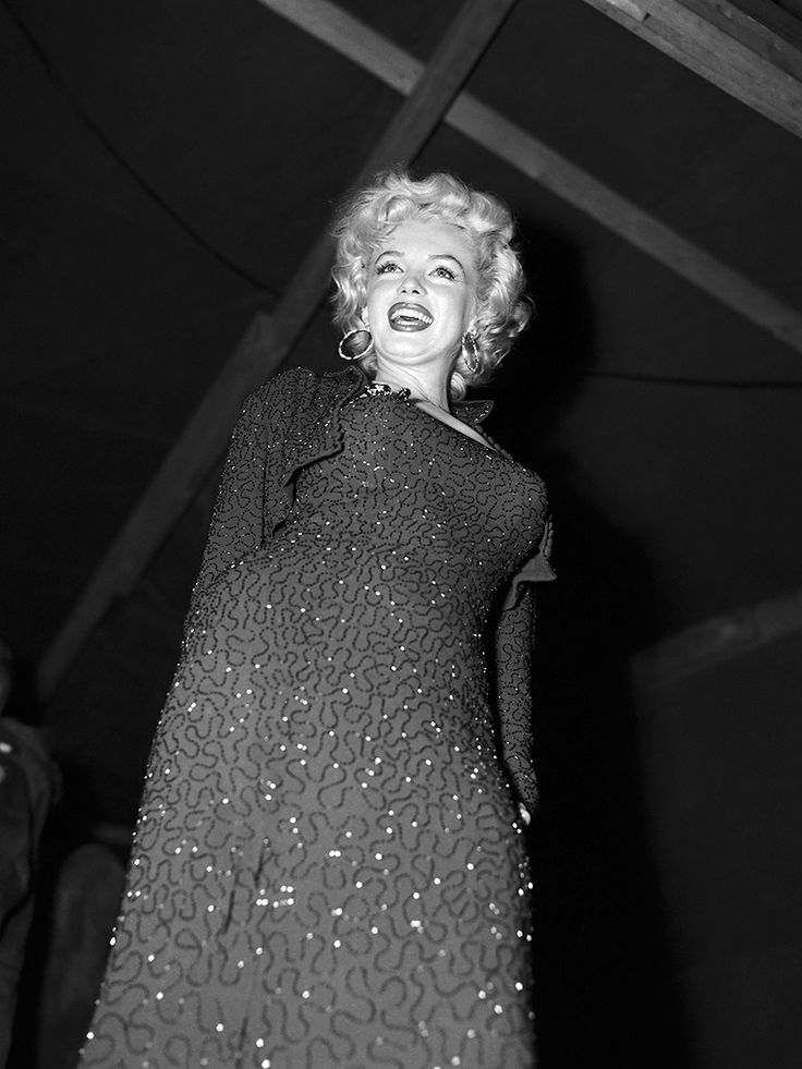 theniftyfifties :     Marilyn Monroe performing for the troops in Korea, February 1954.