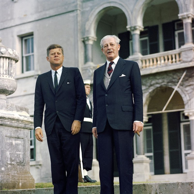 everything-kennedy: President Kennedy poses with Harold Macmillan, Prime Minister of Great Britain. This photo was taken in Bermuda on December 21, 1961.