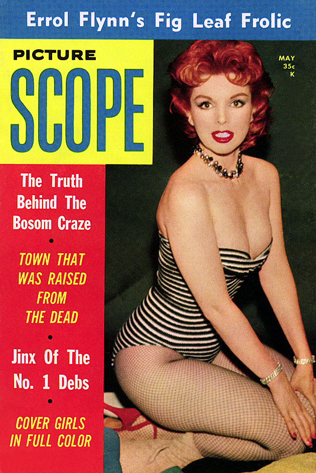 theniftyfifties: Burlesque dancer Marcia Edgington on the cover of Picture Scope, May 1958.