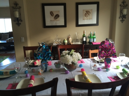 Easter 2015- my mom made a HUGE feast. I was in charge of the table and clean up.