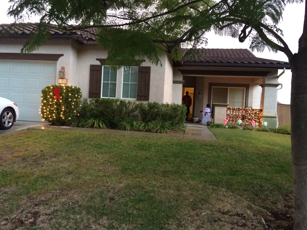 Hanging some Christmas lights. Ignore our grass, we are in a severe drought.