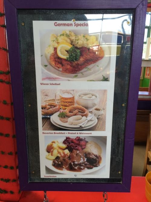 German food on display at the market