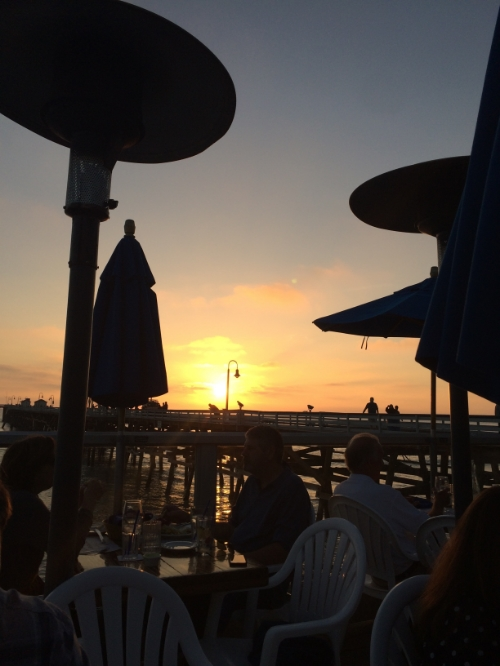 Sunset dinner with friends on the San Clemente Pier.