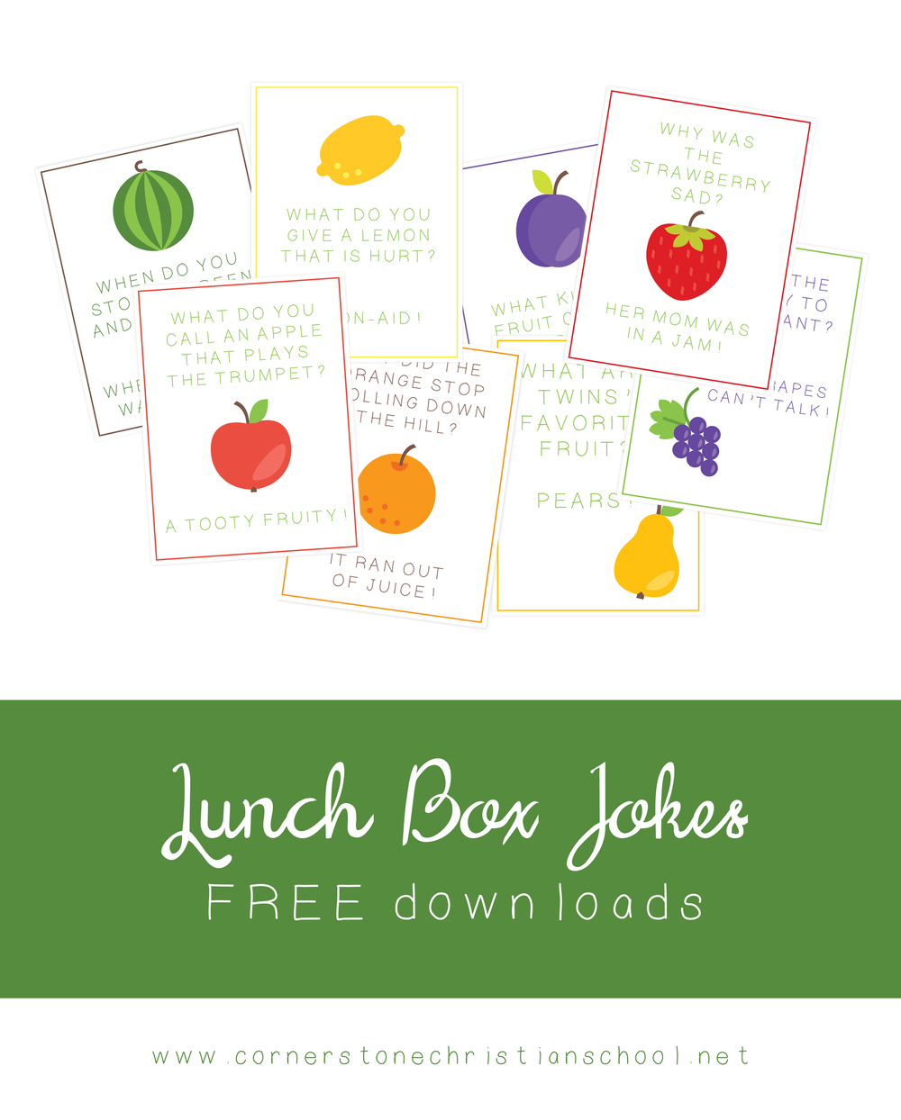 Lunch Box Joke Cards // FREE download // Cornerstone Christian School