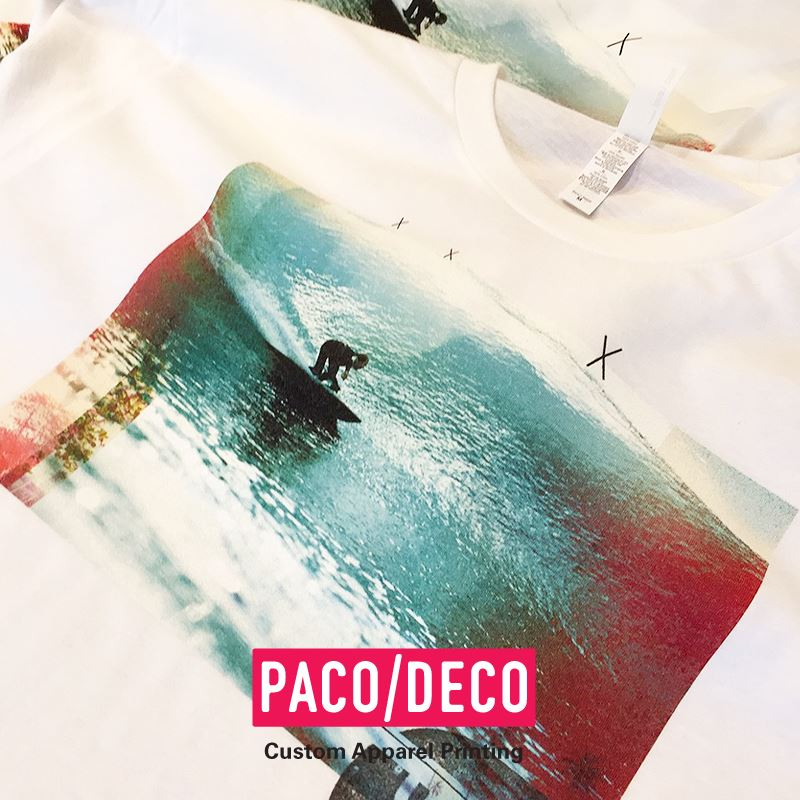 9m Apparel - PACO/DECO printing. Full color direct to garment.