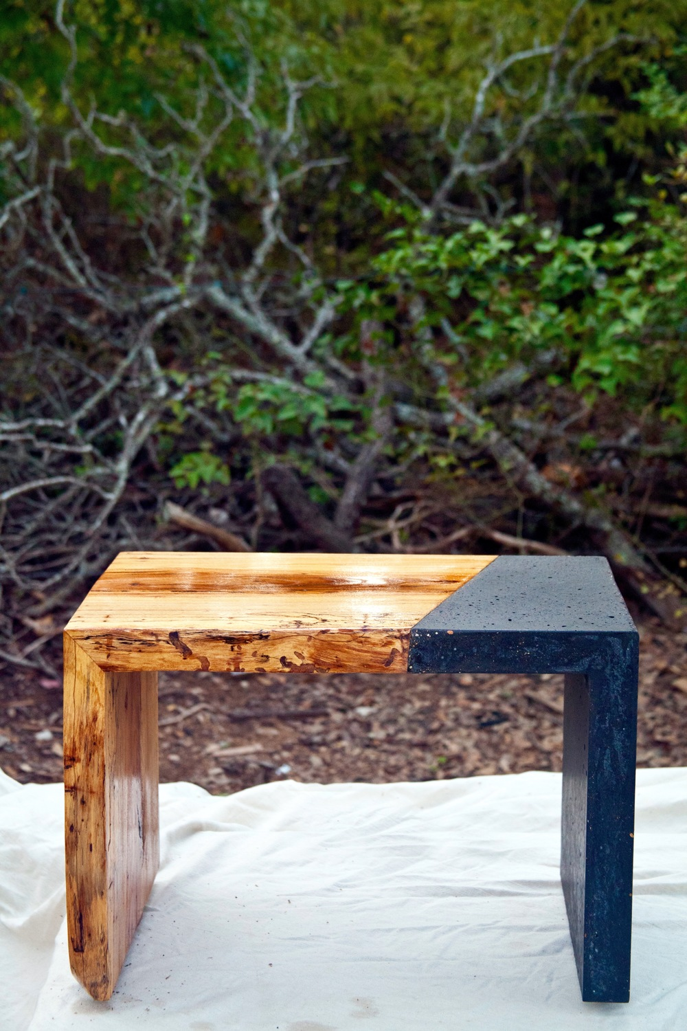 For This Project We Used Spalted Pecan And Combined It With Some Concrete,  Dyed With Charcoal For Contrast, To Create This Simple And Elegant End Table .