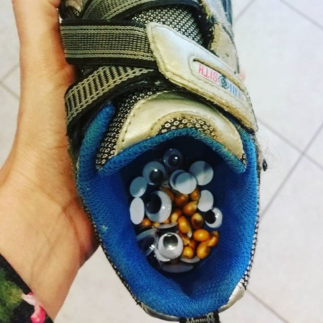 Popcorn kernels & googly eyes in a shoe?! Life with a 4 year-old is weird...