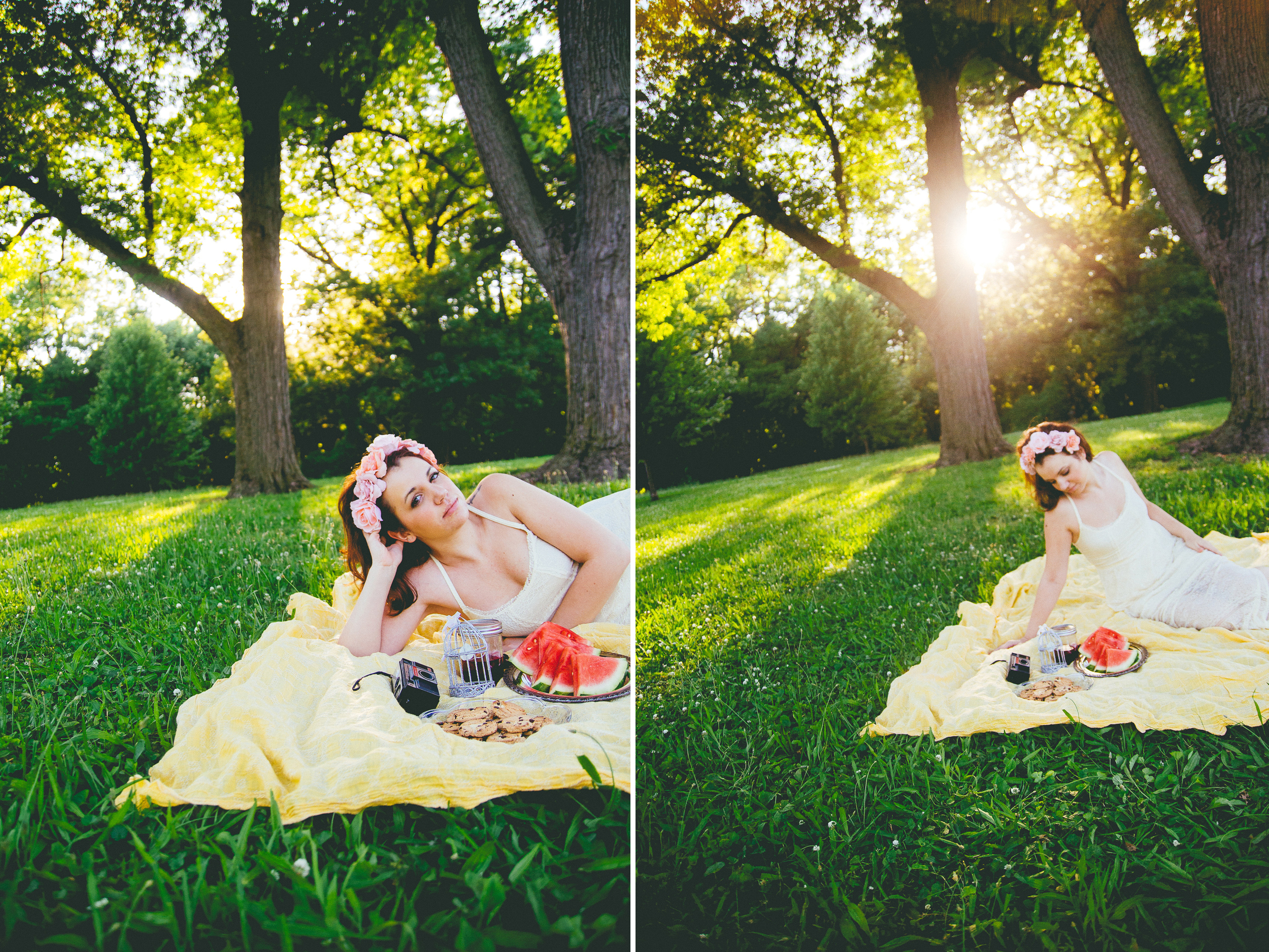 Indianapolis senior photographer Ashlee Lauren takes boho chic photographs on a sunny summer afternoon at this outdoor session of a bohemian girl. Lots of lace, sunshine, flower crowns, mason jars, watermelon, chocolate chip cookies, and girly fun included. Ashlee books sessions for families, children, teens, models, and high school seniors in Indianapolis Indiana, Fishers Indiana, Carmel Indiana, Fort Wayne Indiana. She provides family photography, baby photographs, senior portraits, model test shoots and model head shots. Her photography style is a blend of modern and vintage. She loves her camera and loves shooting at beautiful outdoor locations. She has lots of photography ideas for families, and ideas for senior portraits that are fun and beautiful. Elegant lifestlye photography and styled portrait sessions are Ashlee Lauren's specialties.