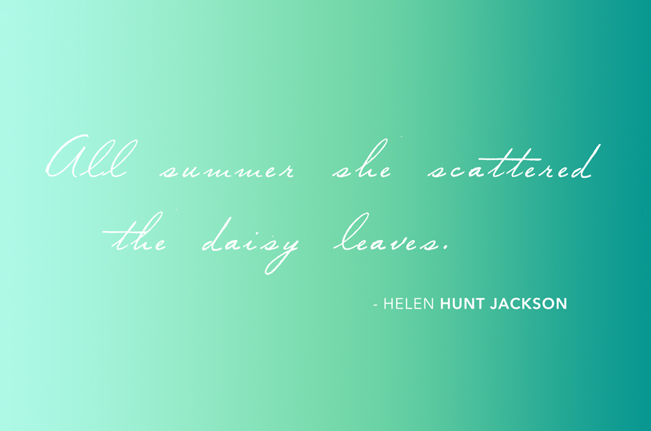 all summer she scattered the daisy leaves, quote by helen hunt jackson