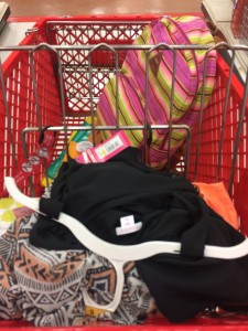 my Target cart, piled shamelessly high of goodies like a tribal print maxi dress, a neon backpack, stationary and more on a recent shopping trip to my indianapolis target.