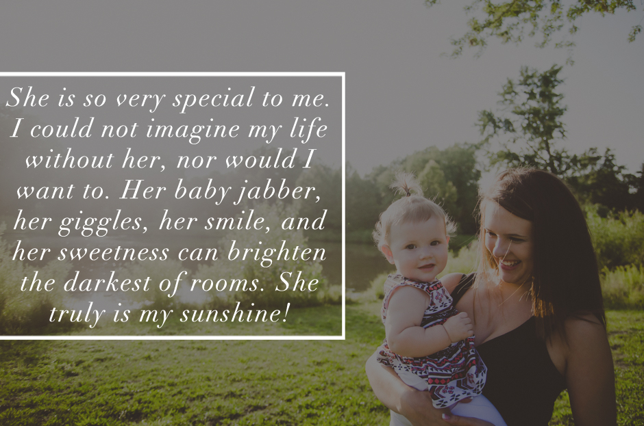Moms in Indianapolis are invited to take part in a special motherhood photography project. Here, a mom talks about how irreplacible her one year old daughter is. Quote about moms and motherhood.