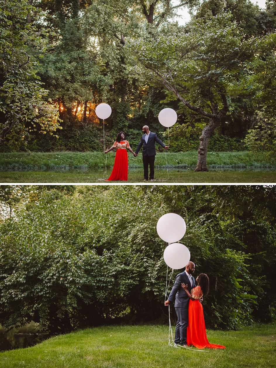 indianapolis engagement pictures with balloons at holcomb garden