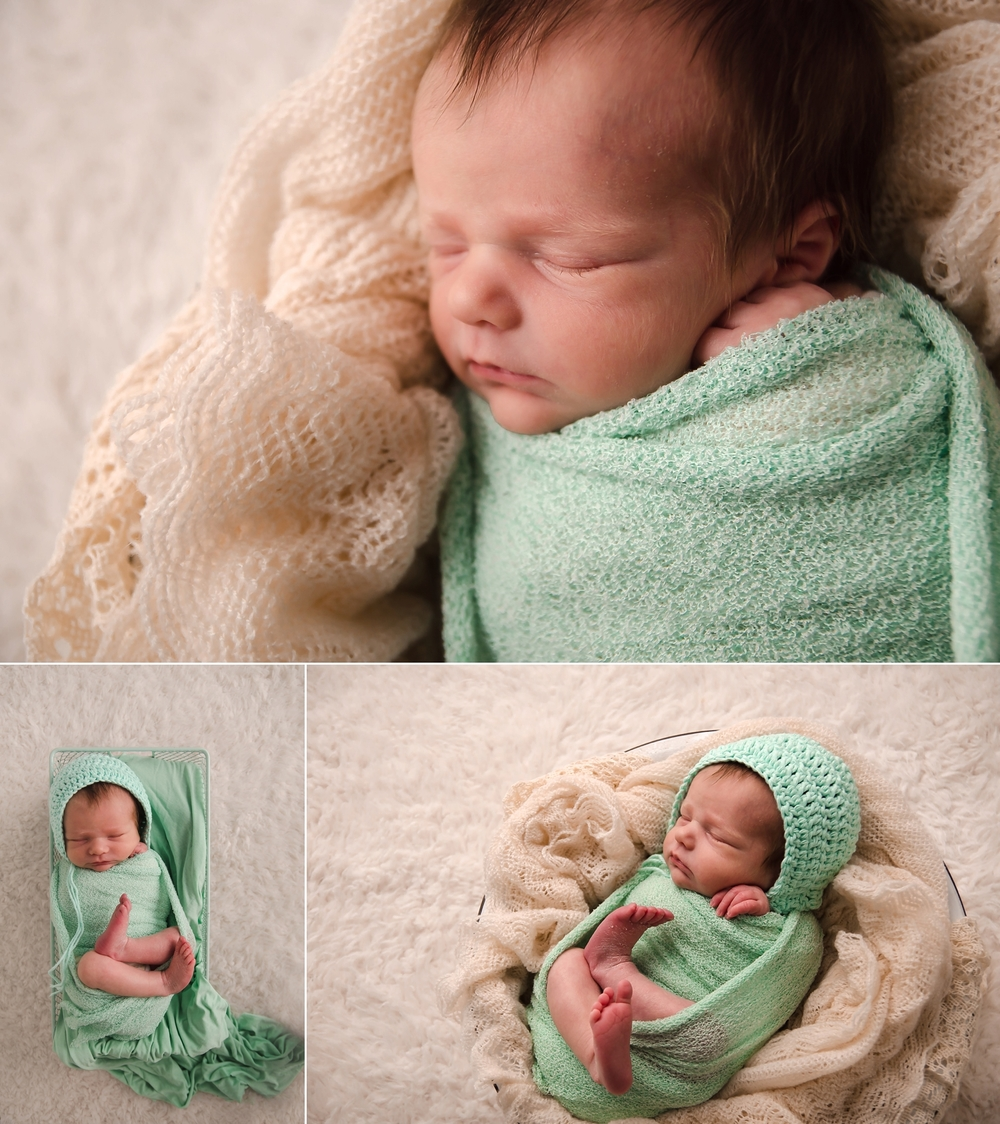 Beautiful pictures of a newborn baby girl in a mint swaddle wrap.