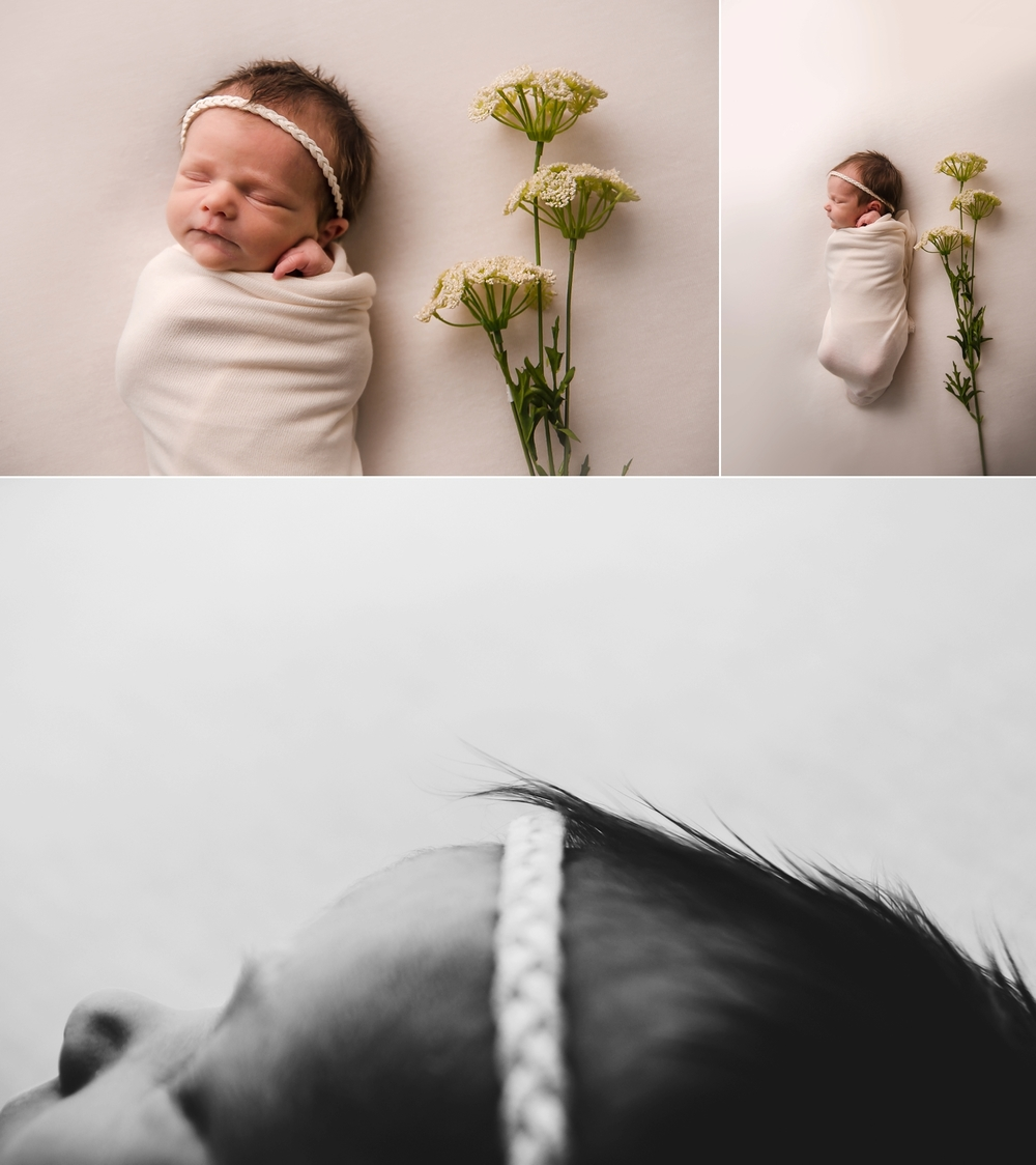 Photos of a newborn with flowers.