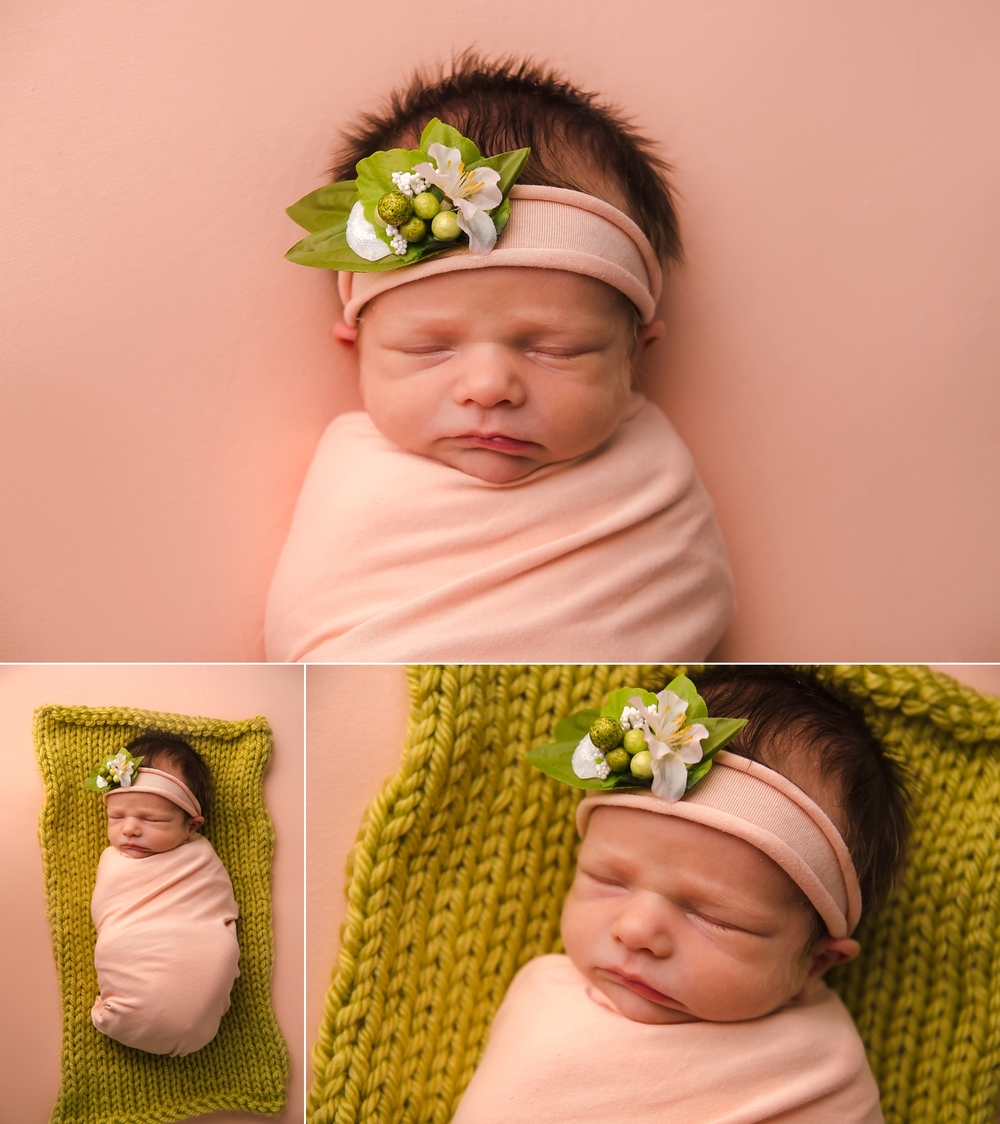 Newborn photography session for two week old baby girl.