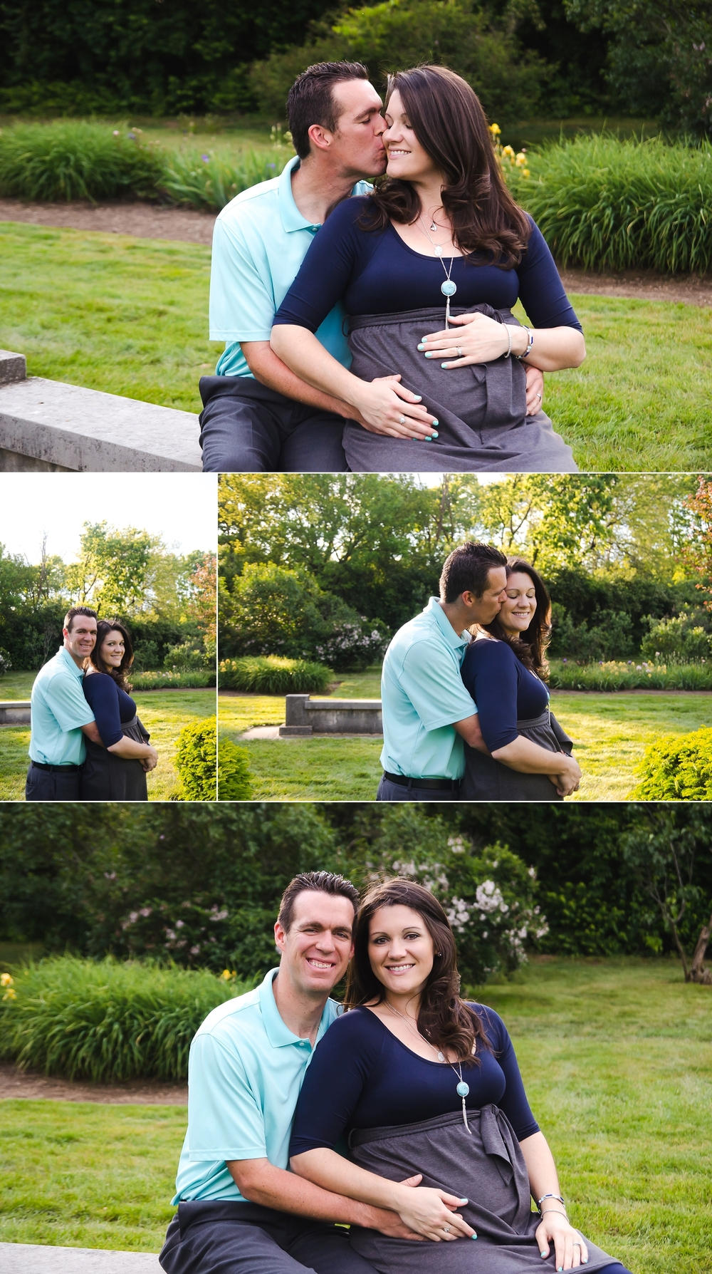 Expecting parents have an Indianapolis maternity session at an outdoor location.