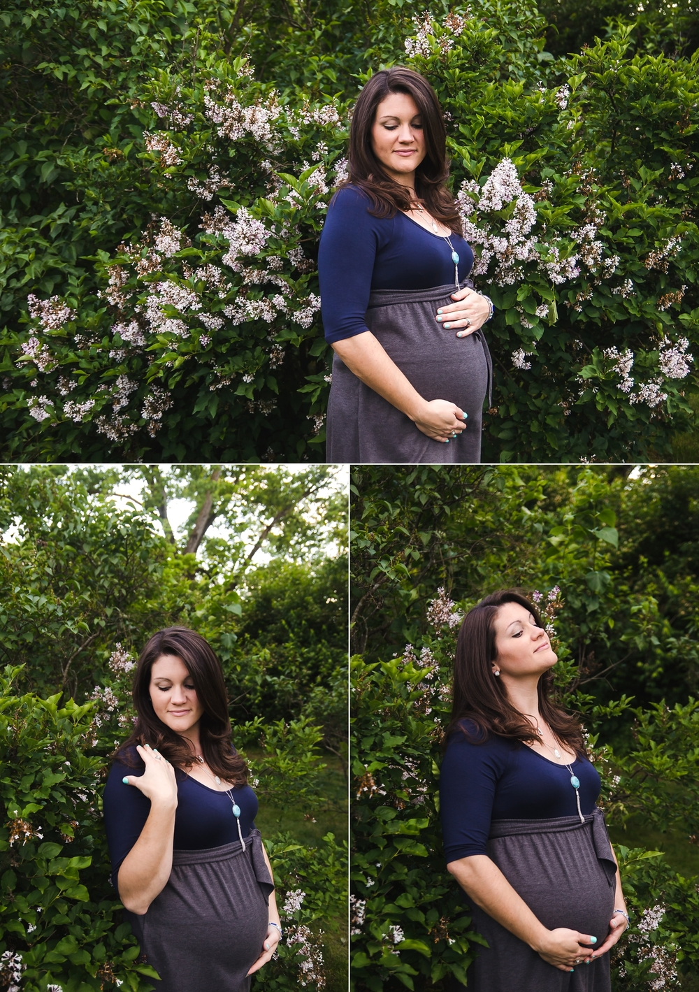 Mommy-to-be poses for pictures in front of a lilac bush in Indianapolis, IN.