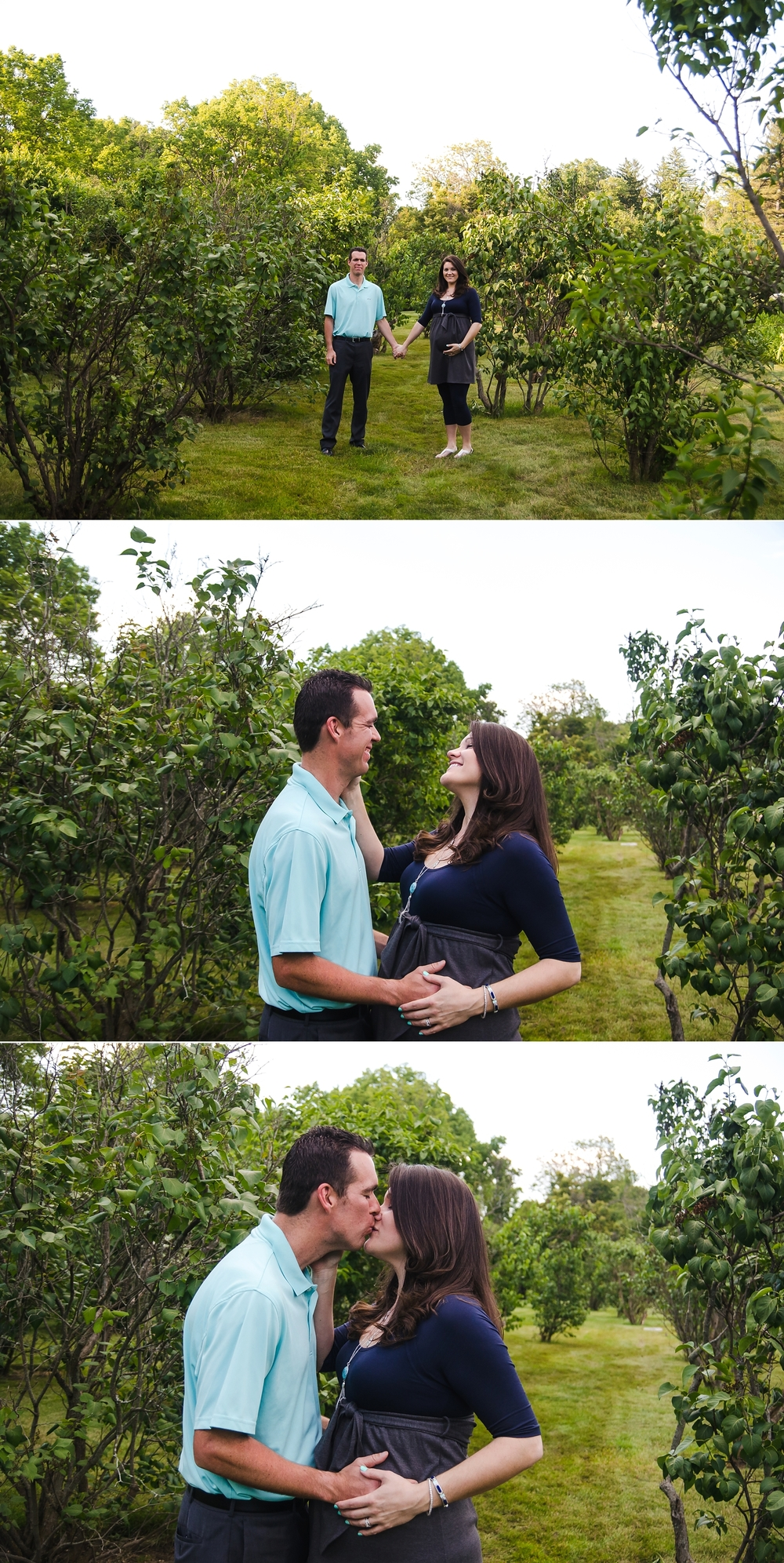 Mom and dad have maternity portraits taken in an Indianapolis garden.