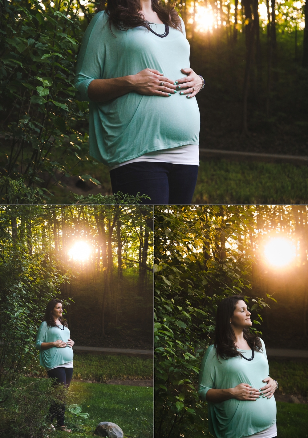 Sunset maternity portraits of pregnant woman wearing a mint top in Indianapolis, IN