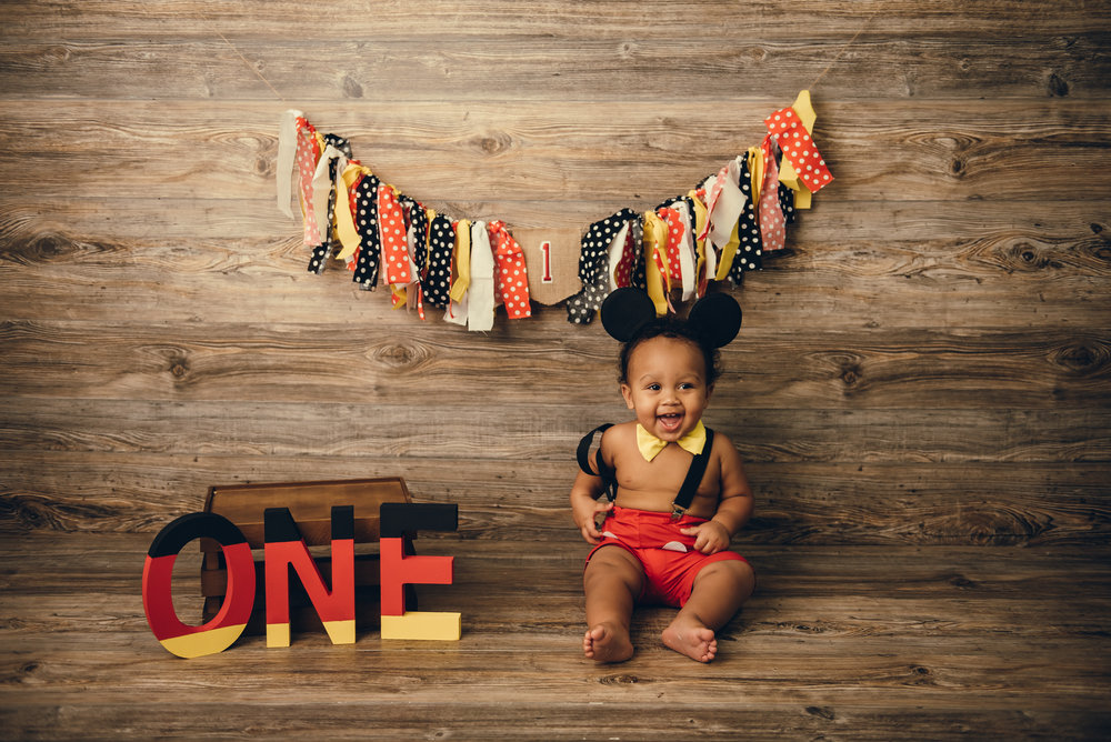 mickey mouse first birthday photography session