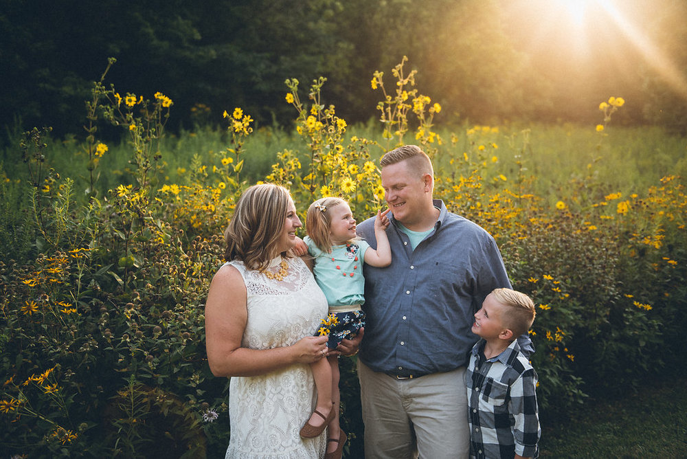 family photography in a field near Indianapolis, Indiana