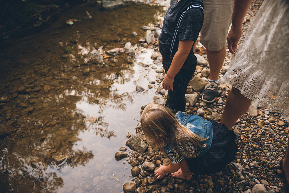 a family enjoys a day at the creek