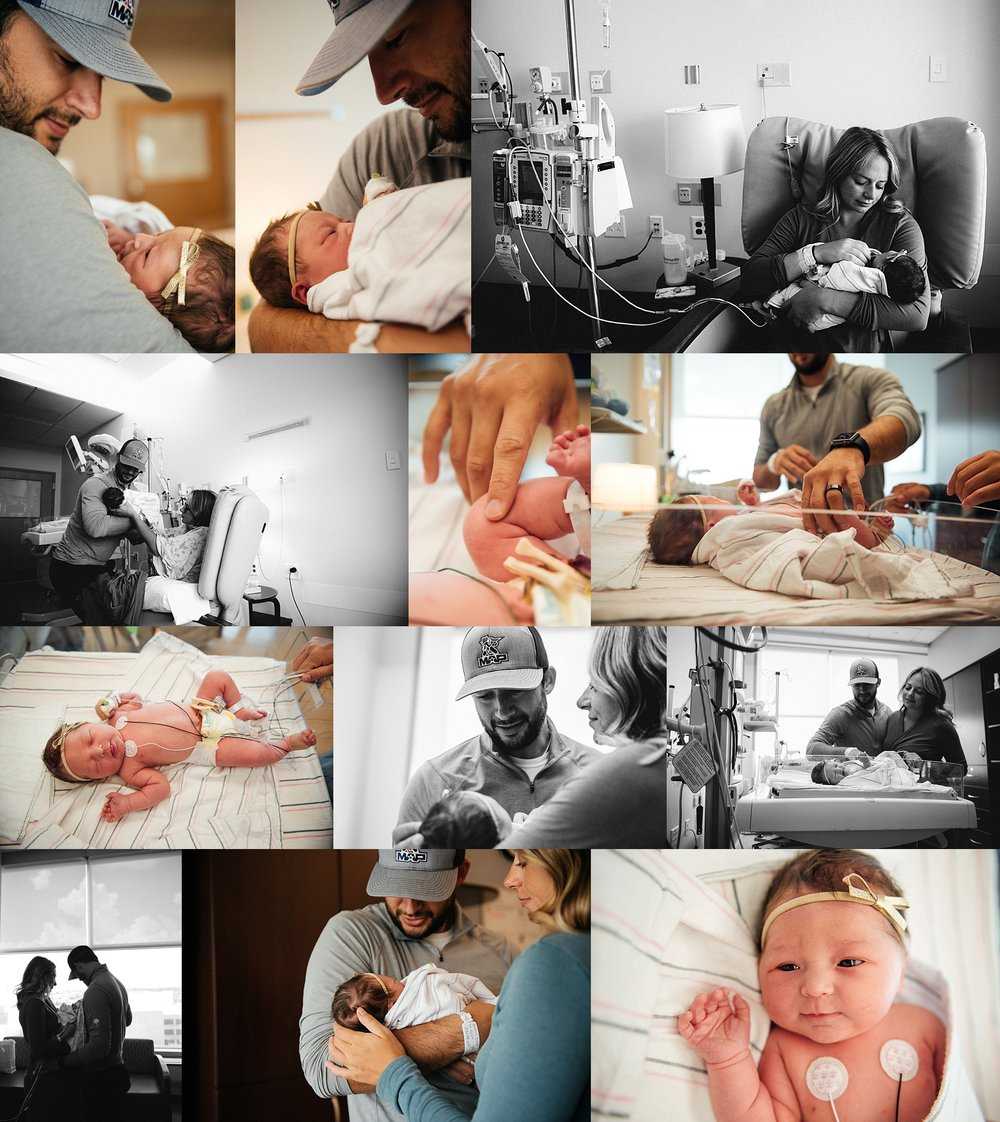 photos of parents with a new baby, in the NICU at Community North Hospital in Indianapolis, IN