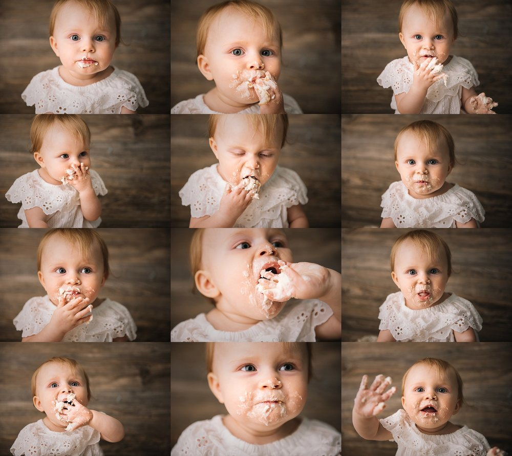 baby eating cake at her first birthday photography session in Indianapolis, IN