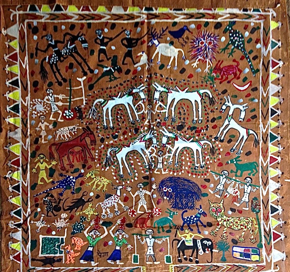 Origine : Bhil, Inde Auteur : Pema Fatya Taille : 0,92 x 0,88 m Technique : Acrylique sur toile Ref : BHI 004 Prix :
