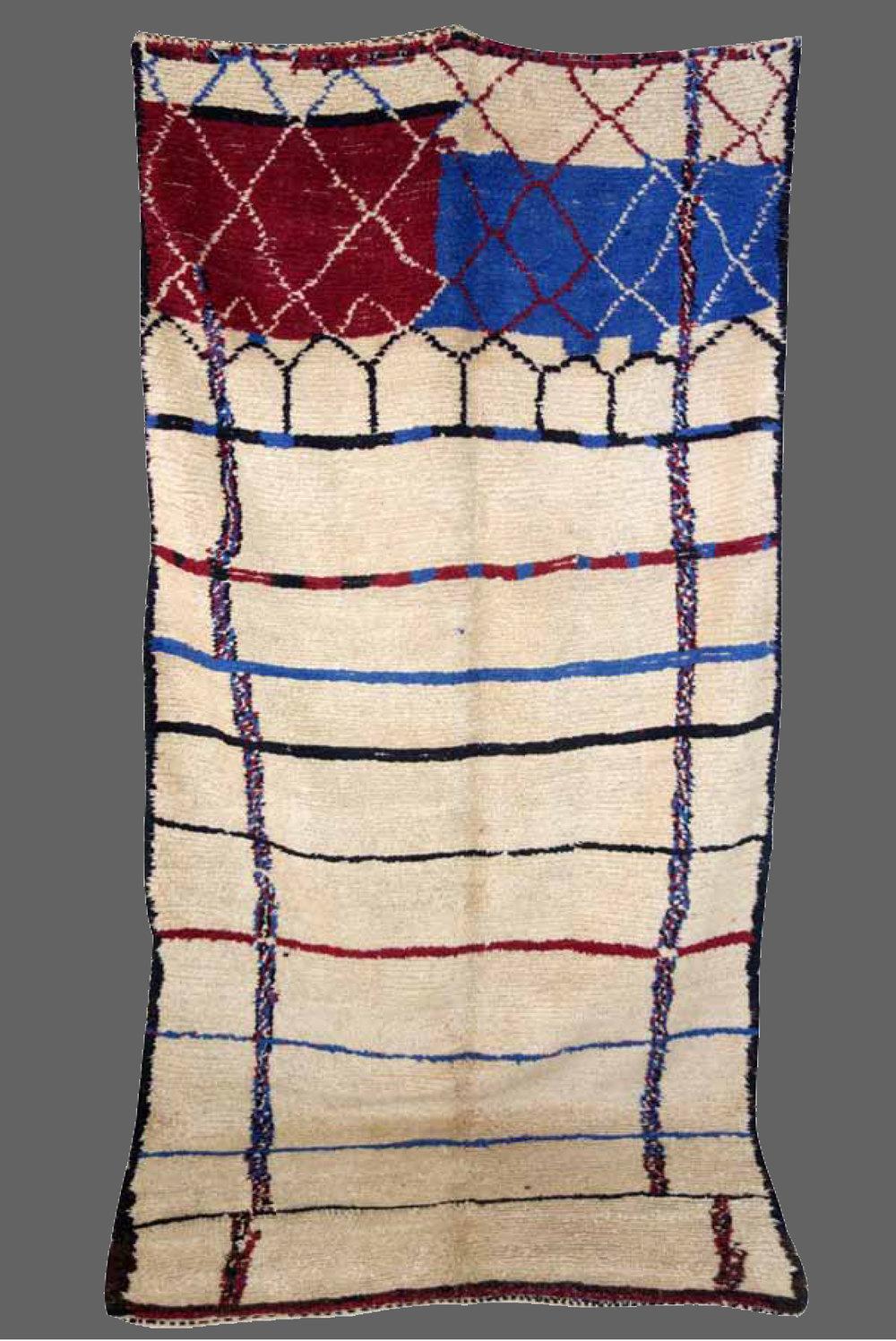 Ethnie : Azilal  Origine : Maroc  Année : 1970  Dimensions : 3,12 x 1,50  Technique : Laine rasse, fait main, noeuds simples  Description : Exceptionnel design, un vrai  Mondrian, rare et unique. Pièce de collection  Référence : AZL 008  Prix : 2600€