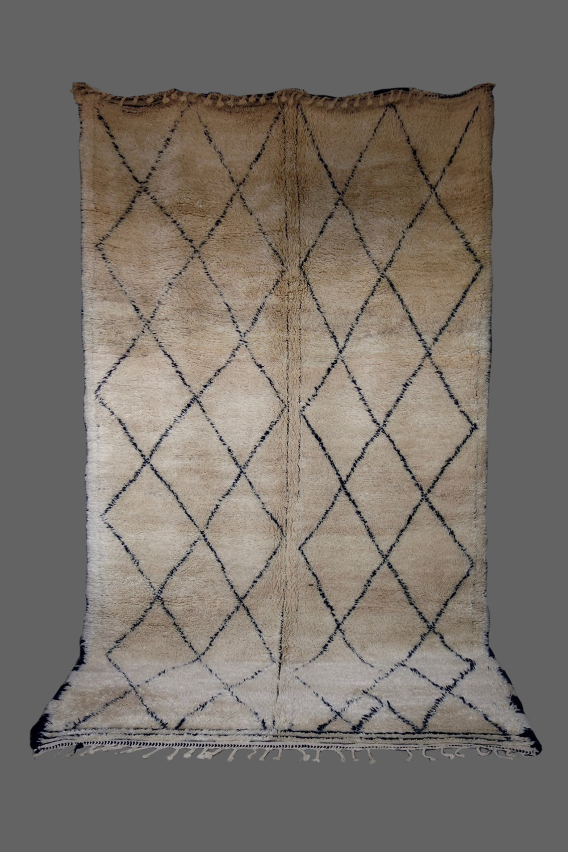 Ethnie : Beni Ouarein    Origine : Maroc    Année : 1980    Dimensions : 3,40 x 1,95    Technique :    Description : Sublime Beni Ouarein, double dessin,superbe laine épaisse, légèrement beige, pièce rare    Référence : BEN 009    Prix : 2900€