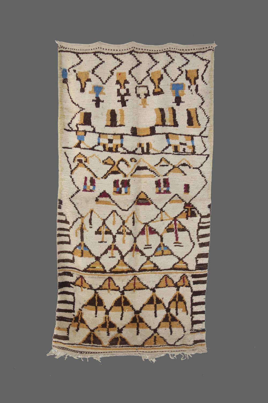 Ethnie : Azilal    Origine : Maroc    Année : 1970    Dimensions : 2,48 x 1,31    Technique :    Description : Rare Azilal, graphisme original, couleurs naturelles    Référence : AZL 021    Prix : 1800€