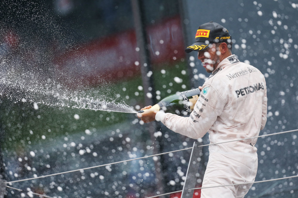 Champagne and points for Lewis in Spielberg. (Pic: Mercedes)