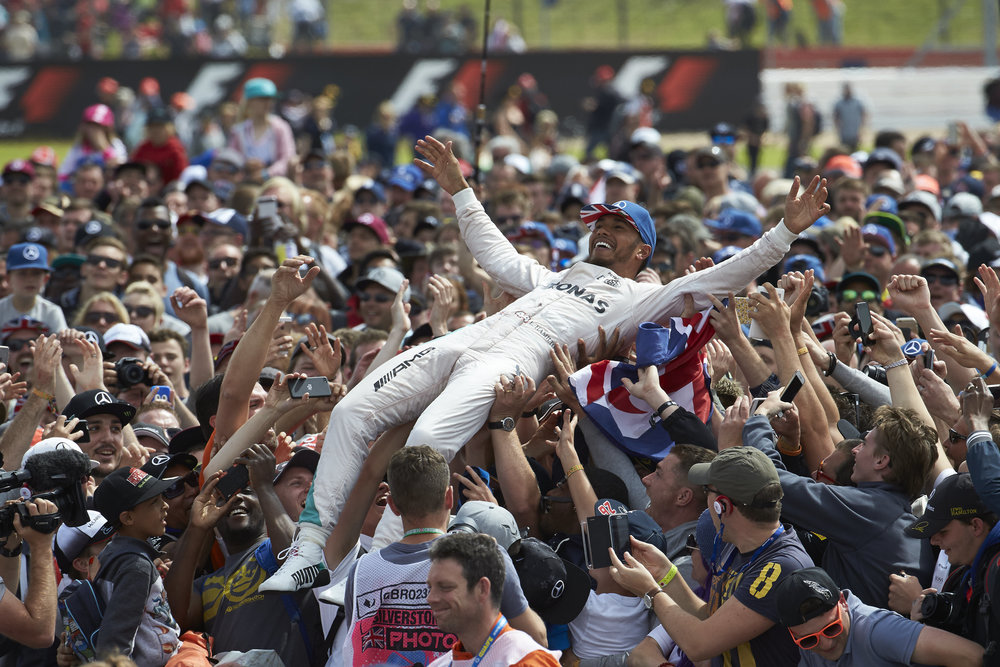 Silverstone was Lewis' turn to go crowdsurfing. (Pic: Mercedes)