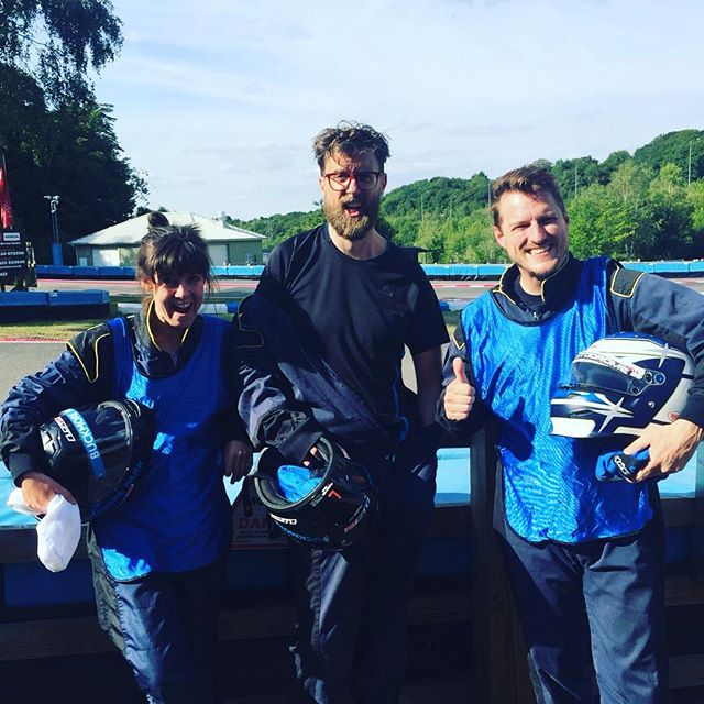 Two professionally bibbed up drivers and the special guy in the middle. #karting #podcastwars