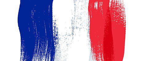 France colorful brush strokes painted flag.