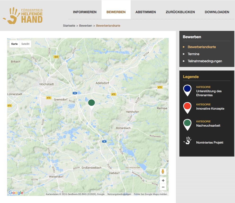 Die FFW Neuhaus ist auf der Teilnehmer Karte markiert  http://www.helfende-hand-foerderpreis.de