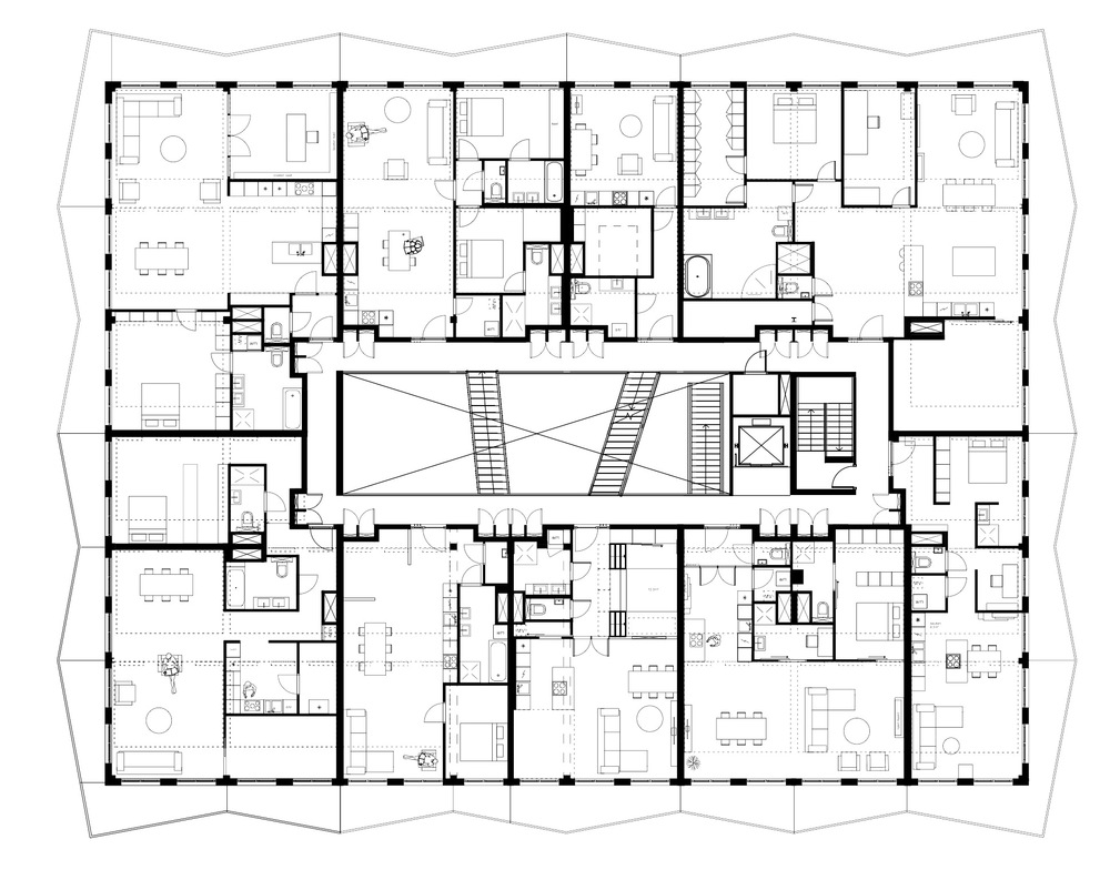 The floorplan is very diverse. Apartments range from 28 m2 to 220 m2 and are all individually designed.