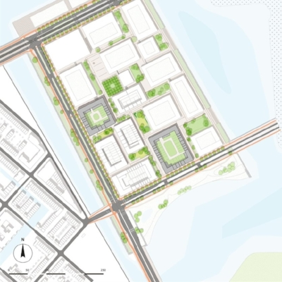 Plattegrond - blokken 7 en 15 zijn in het grijs gearceerd, gemeente Amsterdam