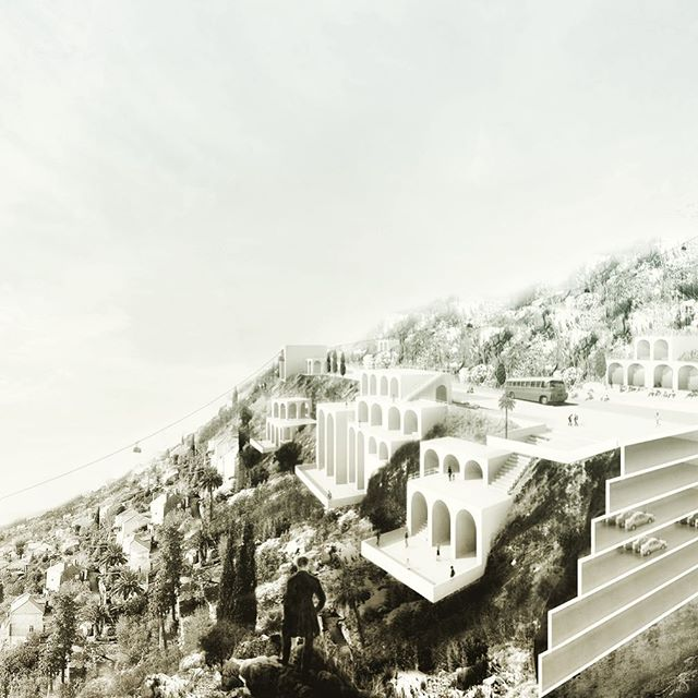 Cable Car Parking was our entry for Europan 11 Dubrovnik. To relief the crowded city center of cars and tourists we combined the requested carparking with Dubrovnik's cable car. An additional stop and combined cablecar/parking tickets seduce tourists to park their car next to the highway, ridding the historical city center of traffic congestion. #unbuiltarchitecture #europan #2011 #dubrovnik #carpark #cablecar #architecture