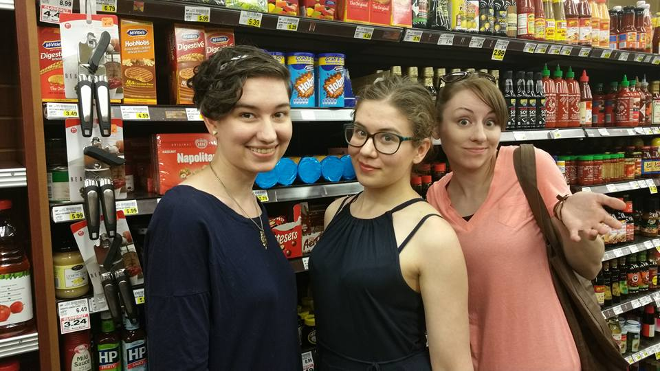 Bree, me and Jess in the British Aisle of their local grocery store. So. Many. Condiments.