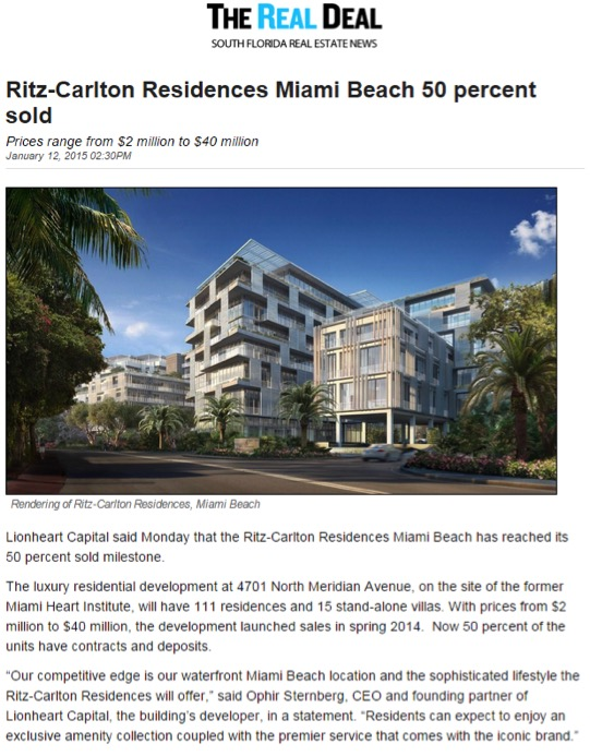 The Real Deal - Ritz-Carlton Residences Miami Beach 50 percent sold - 1.12.151.jpg