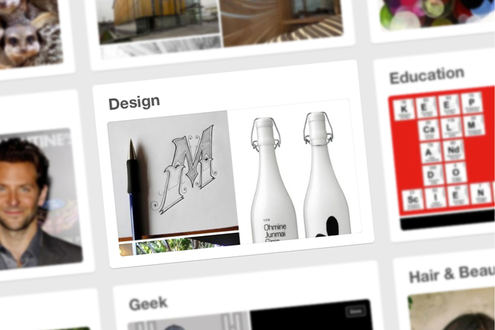 Work featured to represent 'Design' on the worldwide homepage of Pinterest.