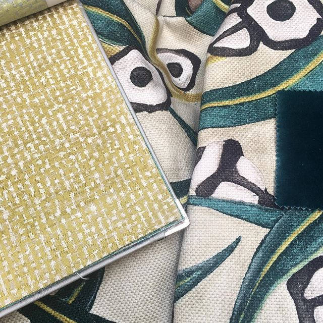 Selection for a new project #interiordesign #architecture #moodboard #green #antiquelemon #color #velvet #designersguild #brochier #janeclayton #milan #italy