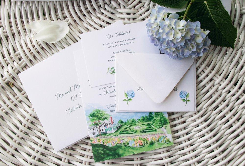 Custom hand-painted wedding invitation suite by    Mospens Studio   .