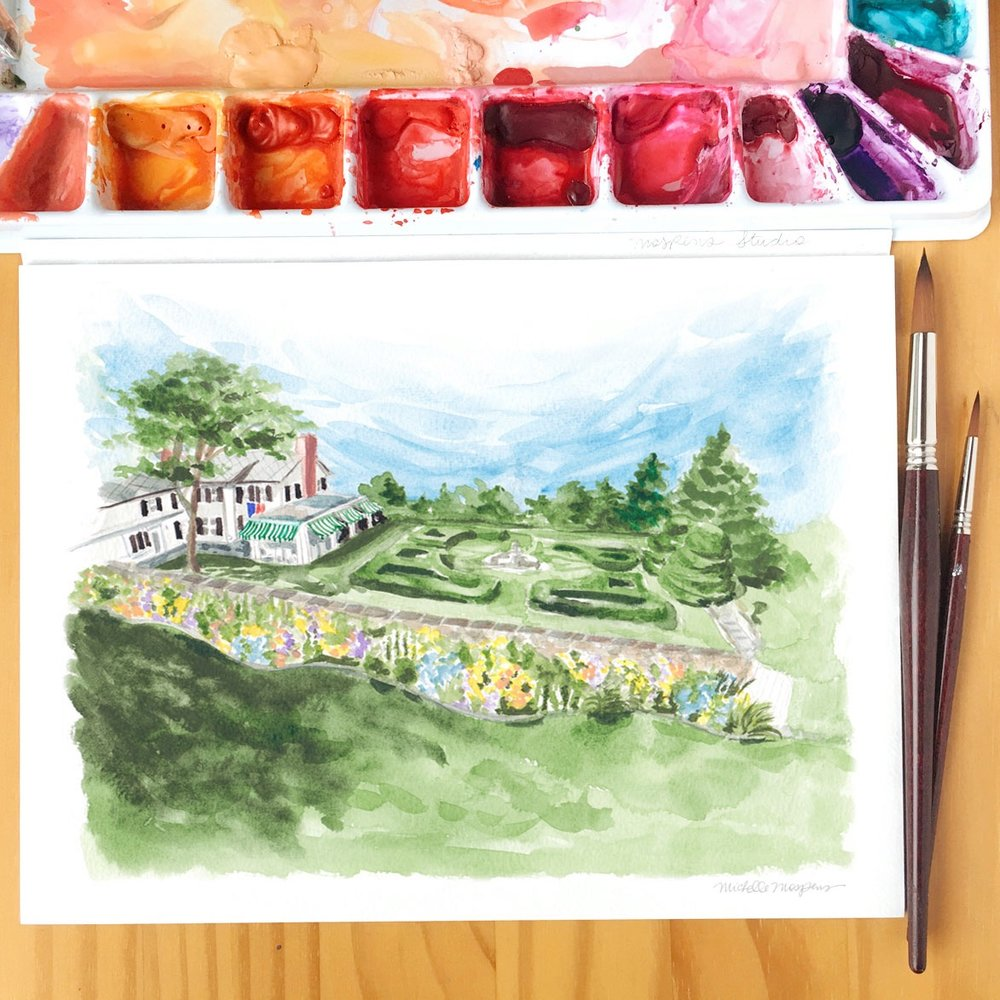 Photograph and custom hand-painted watercolor landscape by Michelle Mospens,    Mospens Studio   .