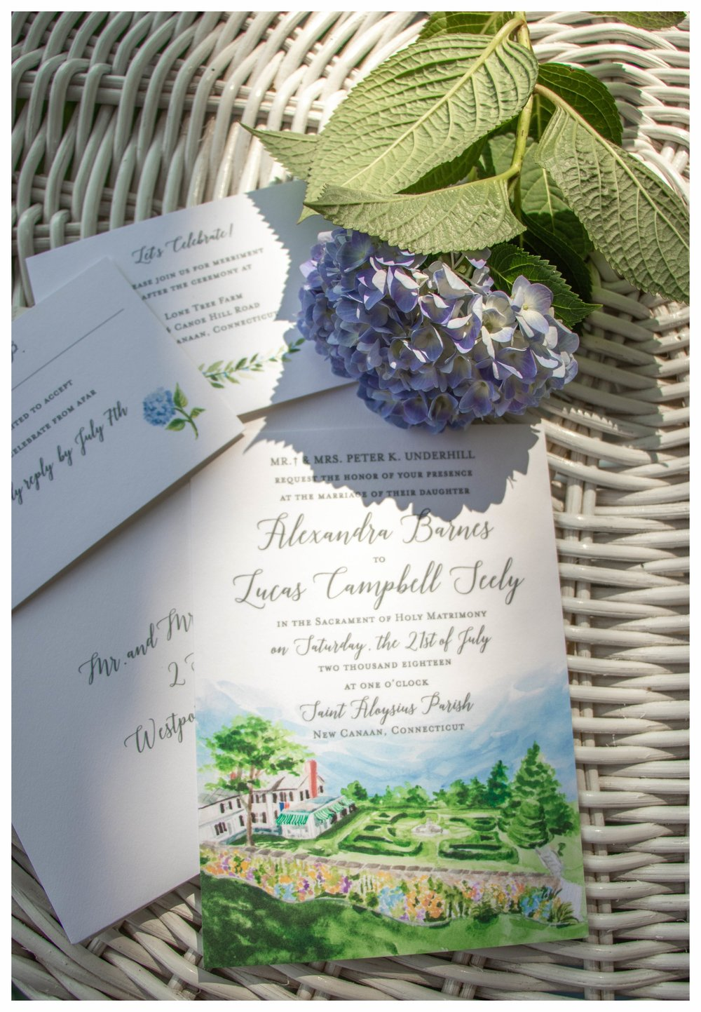 Michelle Mospens Hand Painted Wedding Invitation Suite_July_Summer